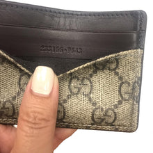 Load image into Gallery viewer, Gucci GG Supreme Canvas Brown Leather Trim Mini Card Case wallet 233166
