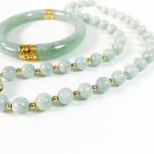 Load image into Gallery viewer, 14kt Gold Jade Necklace and Bangle Bracelet Set