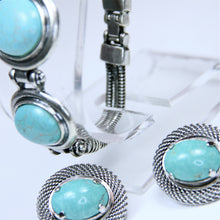 Load image into Gallery viewer, Native American/ Southwest Three Piece Bracelet, Pendant, and Earrings Set in Silver Plate