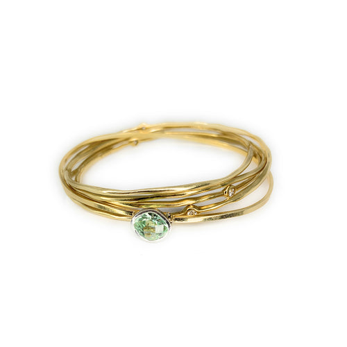 Ippolita 18K yellow Gold Aquamarine Diamond Hammered 5 Bangle Set<