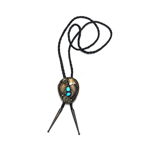 Native American Sterling Silver Turquoise & Bear Claw Bolo Tie
