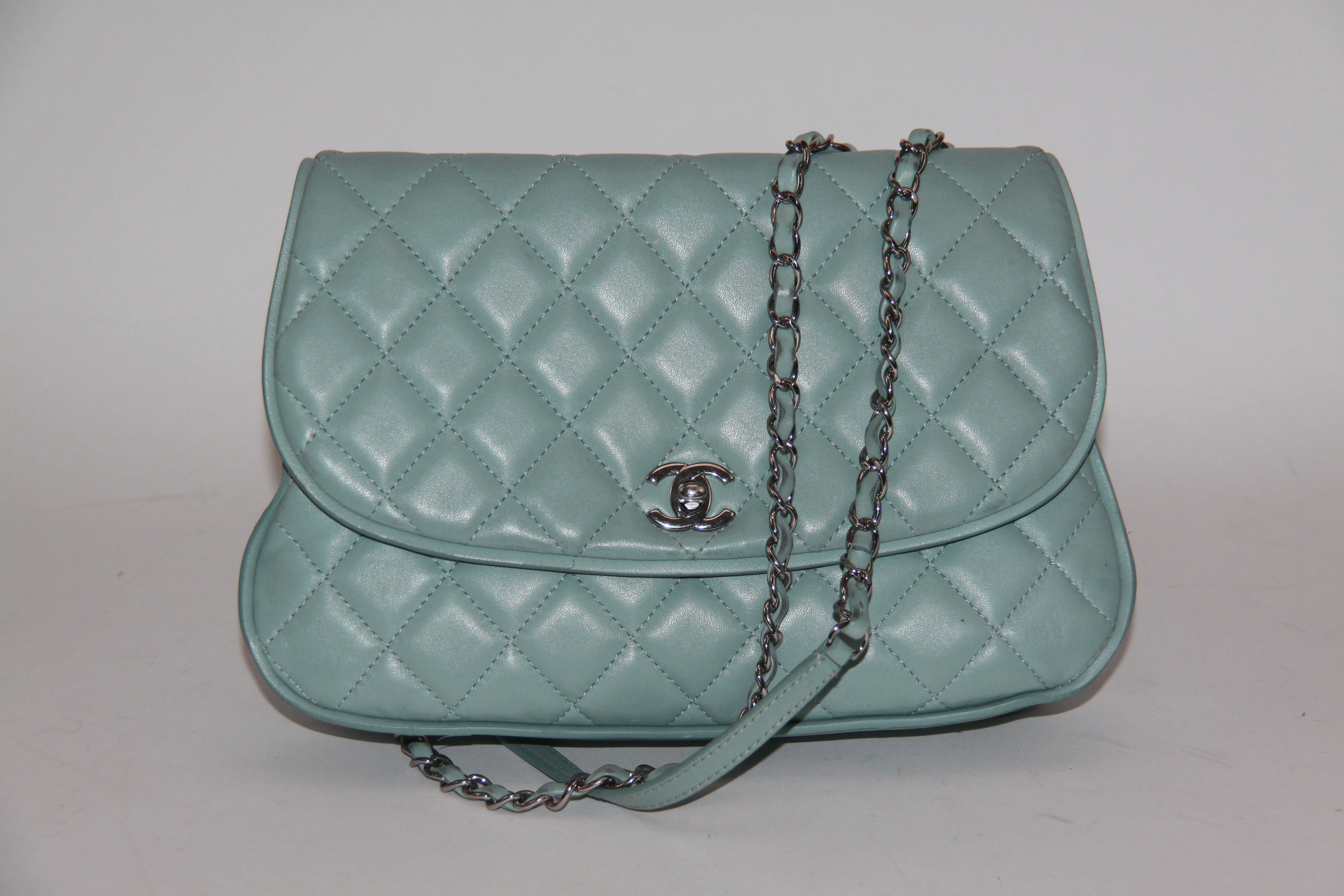 5ed3be127550 Chanel Light Blue Quilted Messenger Flap Bag 2015 – Biltmore Lux
