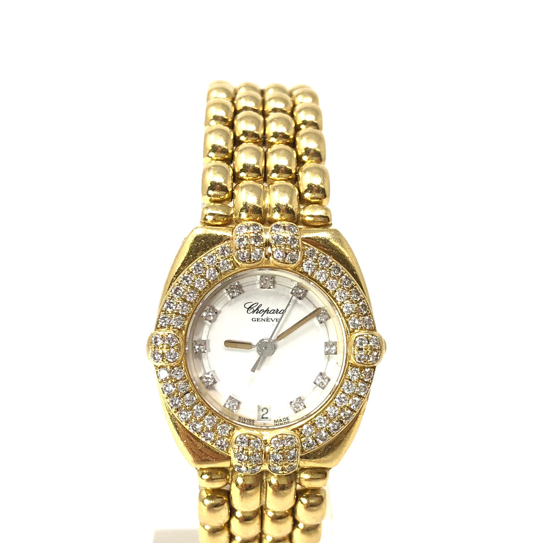 Chopard Gstaad 5229 18K Yellow Gold Diamond Bezel Quartz Ladies Watch