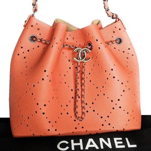 Chanel Caviar Perforated 2017 CC Shop Drawstring Bucket Bag