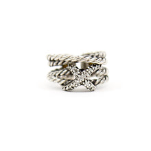 "Load image into Gallery viewer, David Yurman Sterling Silver Diamond ""X"" Crossover Ring Size 5"