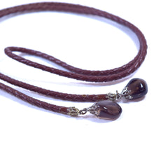 Load image into Gallery viewer, Brown Braided Leather and Onyx Stone Bolo Neck Bow Tie