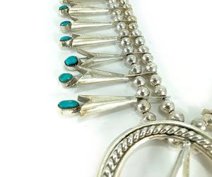 Native American Sterling Silver & Turquoise Zuni Squash Blossom Necklace