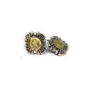 Esti Frederica Sterling Silver 18K Gold Cameo Warrior Square Clip Earrings