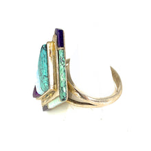 Load image into Gallery viewer, Vintage ZUNI Sterling Silver Multi Stone Cobble Inlay Ring - Sz. 10<