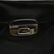 Load image into Gallery viewer, Prada Black Nylon Leather Silver Hardware Flap Shoulder Bag