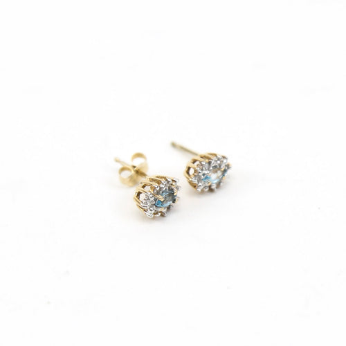 14K Yellow Gold Earrings with 1.0ctw Marquise Cut Aquamarine with 0.12ctw Diamonds