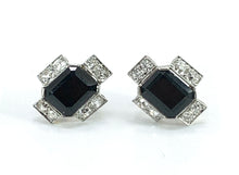 Load image into Gallery viewer, GORGEOUS Onyx & Diamond 14K Two-Tone Gold Earrings
