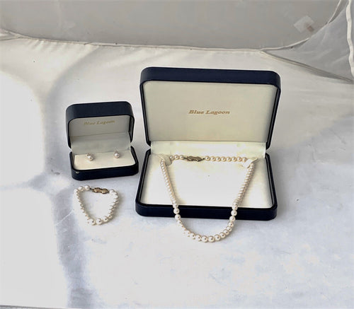 Mikimoto Blue Lagoon 14K Gold 7mm x 6.5mm Pearl Necklace Bracelet & Earring Set