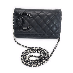ea0b6d3812f2 Chanel Wallet on Chain Cambon Quilted Ligne Black Lambskin Leather Bag