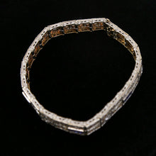 Load image into Gallery viewer, 14K White Gold Art Deco Bracelet with 5 Diamonds and 12 Synthetic Sapphires