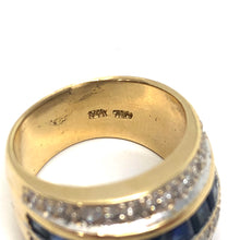 Load image into Gallery viewer, Sapphire and Diamond Princess Cut 18K Yellow Gold Ring Size 6