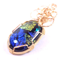 Load image into Gallery viewer, Black Stone with Blue, Purple, Yellow, Orange, and Teal Inlay, Rose Gold Tone Pendant