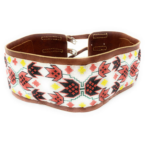 Native American Wide Loom Beaded Leather Dance Belt