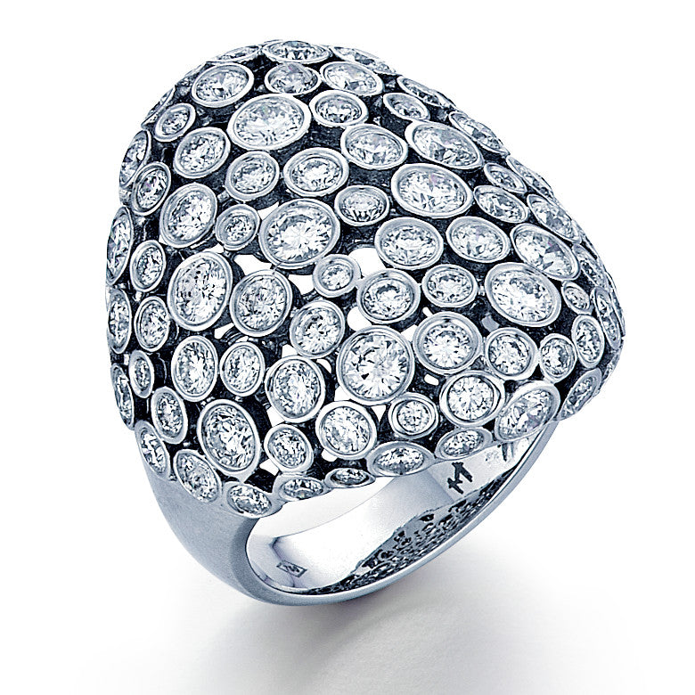 18K White Gold 4.76ctw Fashion Diamond Cocktail Dome Ring - Sz. 6¼