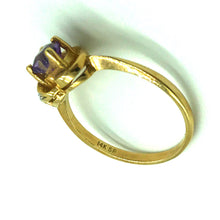Load image into Gallery viewer, 14K Yellow Gold Amethyst Heart and Diamond Ring - Sz. 6