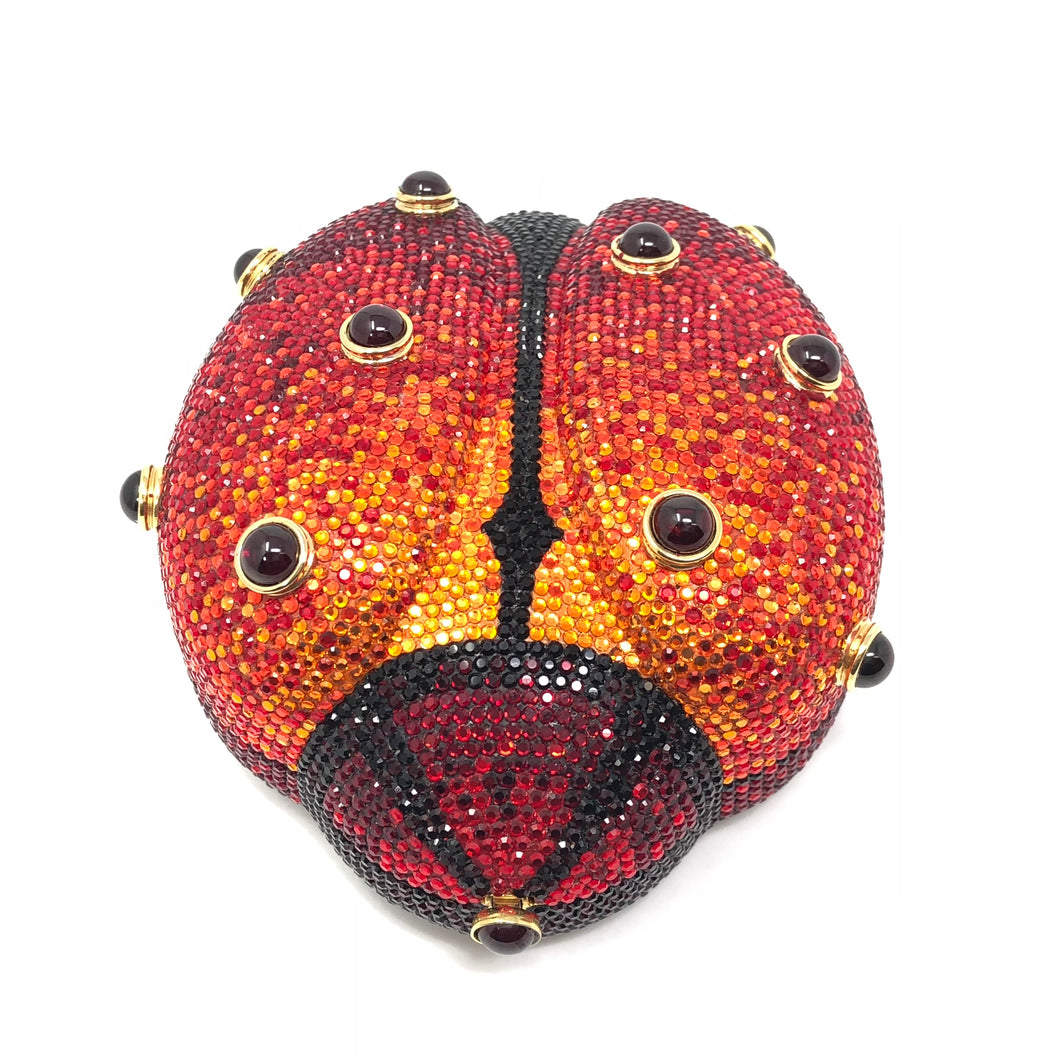 Judith Leiber Ladybug Swarovski Minaudiere Evening Red Crystal Clutch