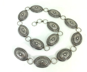 Vintage Traditional Navajo Sterling Silver Concho Belt