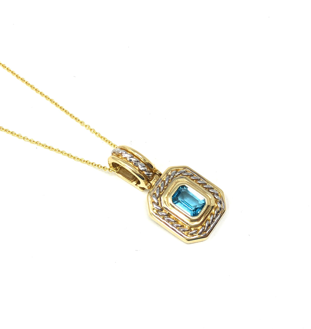 Estate 14K White/Yellow Gold London Blue Topaz Necklace Pendant