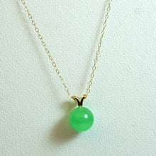 Load image into Gallery viewer, 14 Karat Yellow Gold and Green Jade Bubble Pendant Necklace and Earrings Set