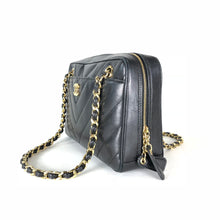 Load image into Gallery viewer, Chanel Vintage Black V-stitch Chain Shoulder Bag
