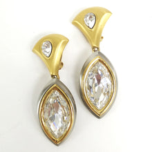 Load image into Gallery viewer, Daniel Paris Large Gold Tone and Rhinestone Earrings