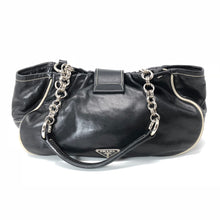 Load image into Gallery viewer, Prada Black Leather Buckle Double Pocket Shoulder Bag Purse