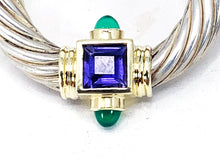 Load image into Gallery viewer, David Yurman Sterling Silver 14K Gold Lolite & Chrysoprase Doorknocker Earrings