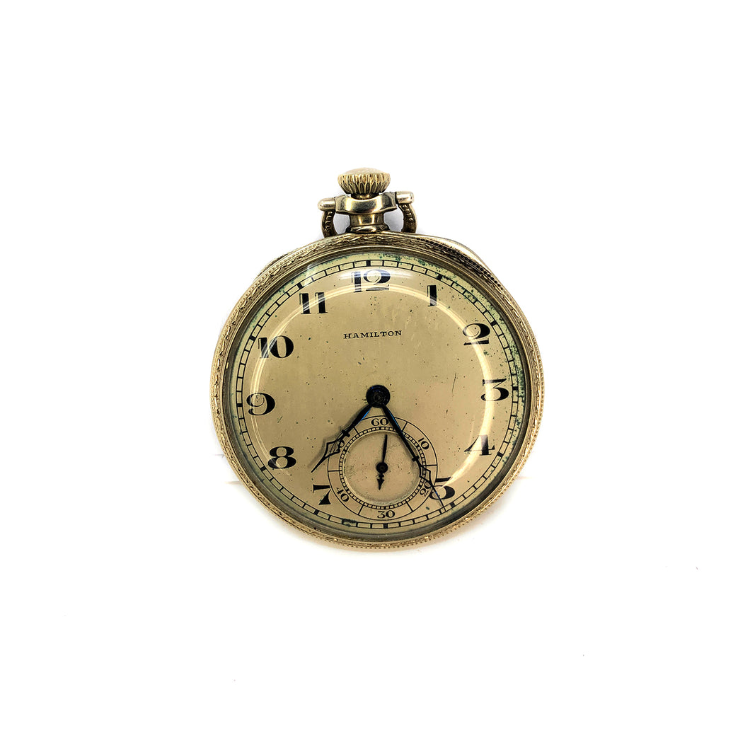 Antique Hamilton Open Face 14K Gold Pocket Watch