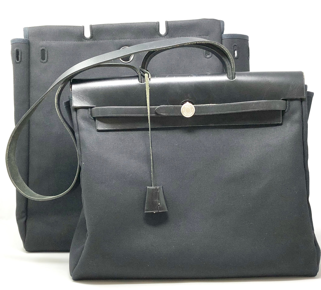 Hermes Toile Herbag 2 In 1 GM AND MM Bags Black with Padlock and Keys