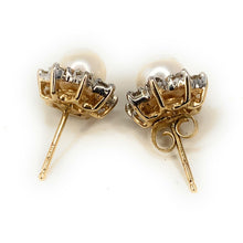 Load image into Gallery viewer, Vintage Akoya Pearl & Diamond 14K Yellow Gold Stud Earrings