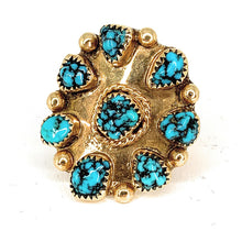 Load image into Gallery viewer, Double Shank 14K Yellow Gold & Fox Turquoise Cabochon Ring - Sz 3.25