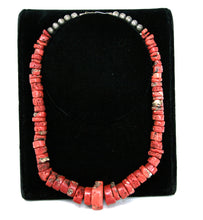 Load image into Gallery viewer, Red Bamboo Coral Heishi Beads Necklace Santo Domingo Native American Necklace