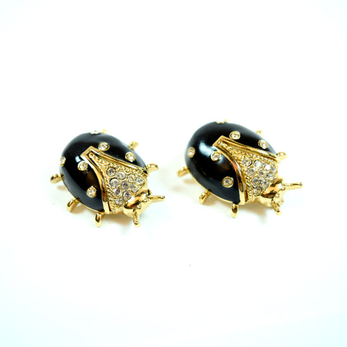 Marie Gray St. John Black Ladybug Swarovski Crystal and Enamel Fur Pin Set of 2
