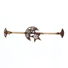 Load image into Gallery viewer, ANTIQUE 10K Rose Gold & 0.57ctw Diamond Victorian paste Crescent Moon and Star Brooch/Pin