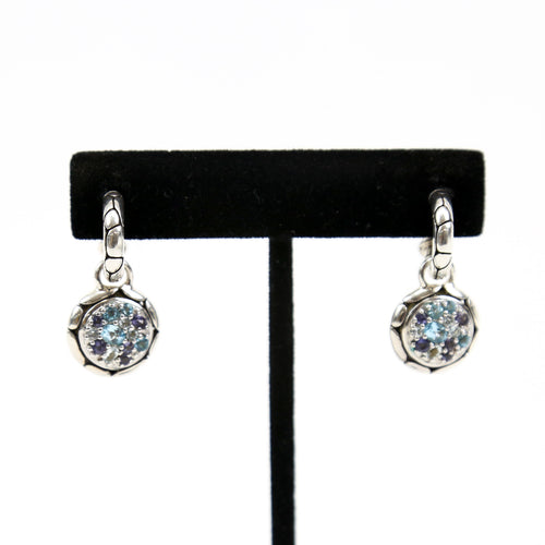 Scott Kay Sterling Silver Earrings with Diamonds, Topaz, Amethyst