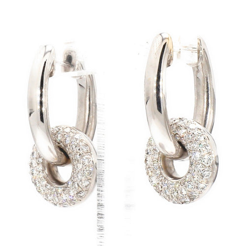 18K White Gold 1.07ctw Diamond Hinged Dangle Charm Hoop Earrings
