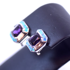 Sterling Silver Amethyst and Opal Square Earrings