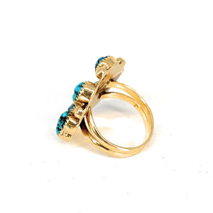 Double Shank 14K Yellow Gold & Fox Turquoise Cabochon Ring - Sz 3.25