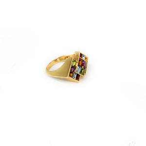 14KP Yellow Gold Multi Gemstone 3-Square Geometric Cluster Style Ring - Sz. 8½
