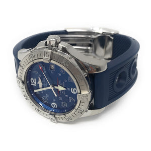 Breitling Superocean A17360 42mm Blue Dial Rubber Strap Men's Watch