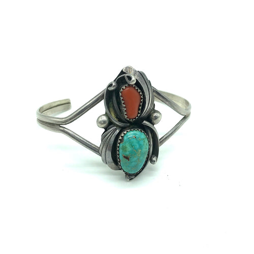 Vintage Sterling Silver Coral and Turquoise Cuff Bracelet- Signed, Size 5 1/4