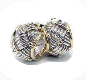 Vintage Hermés 18K & Sterling Silver Woven Pattern Clip-On Earrings