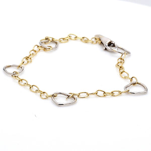 14K White & Yellow Gold Oval & Heart Link Bracelet