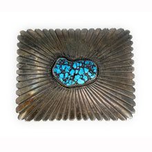 Load image into Gallery viewer, Beautiful Vintage Navajo Sterling Silver & Carico Turquoise Belt buckle
