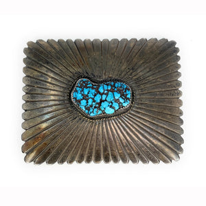 Beautiful Vintage Navajo Sterling Silver & Carico Turquoise Belt buckle